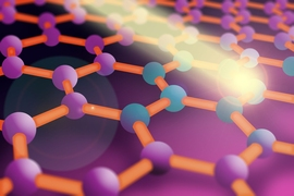 Researchers at MIT have found a way to control how graphene conducts electricity by using extremely short light pulses. In this illustration, a lattice of graphene is shown with its bonds (bars) connecting carbon atoms (balls). When the light pulse hits the atoms, electrons can accumulate or diminish in number. By controlling the concentration of electrons in a graphene sheet, researchers can chan...