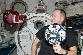 SPHERES satellites with Goggles onboard ISS