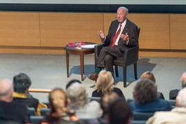 Former U.S. Secretary of State George Shultz PhD '49 addresses an MIT audience about climate change, September 30, 2014.
