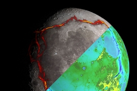 This image of the moon is divided into two halves. The top half shows the rectangular pattern of gravity anomalies bordering the Procellarum region, superimposed in red. The bottom half depicts the topography of the Moon from the Lunar Orbiter Laser Altimeter, with the gravity anomalies bordering the Procellarum region superimposed in blue.