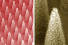 At left is a dense array of electrospray emitters (1,900 emitters in 1 centimeter square). At right is a close-up of a single emitter, covered by a forest of carbon nanotubes.