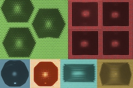 Shapes of water droplets (dark areas) on a textured surface (smaller dots) are determined in a predictable way by the spacing and angles between rows of nanoscale pillars or columns on the surface, the researchers found. Top row (left to right): regular hexagon (green) and square (red). Bottom row (left to right): dodecagon (blue), octagon (orange), rectangle (teal), and hexagon (yellow).