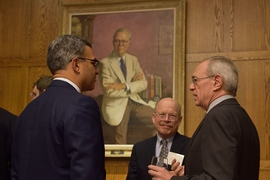 (Left to right) Vanu Bose; Christopher Terman, senior lecturer in the Department of Electrical Engineering and Computer Science; and MIT President Rafael Reif, at a reception honoring the recipients of the Prof. Amar G. Bose Research Grants.