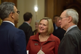 (Left to right) Vanu Bose, Christine Reif, and MIT President L. Rafael Reif.