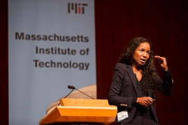 Renée Richardson Gosline, the Zenon Zannetos Career Development Assistant Professor at MIT's Sloan School of Management, was the keynote speaker Thursday at the second day of MIT's annual Institute Diversity Summit.