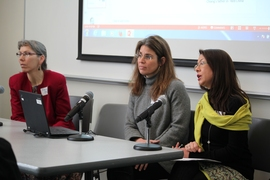 "(From left) Anne McCants, Ina Lipkowitz, and Emma Teng of MIT at the symposium, ""Consuming Food, Producing Culture,"" held at MIT."