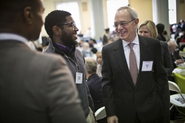 MIT president L. Rafael Reif chats with attendees at the annual luncheon.