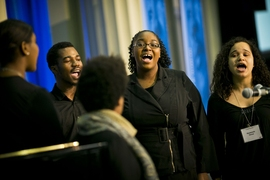 The MIT Gospel Choir performs at the luncheon.