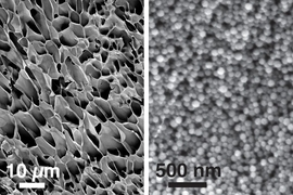 These scanning electron microscopy images, taken at different magnifications, show the structure of new hydrogels made of nanoparticles interacting with long polymer chains.
