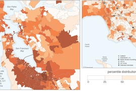 Mapping estimated entrepreneurial quality by ZIP code in the San Francisco Bay Area (left). Dots indicate single-address ZIP codes. The quality of entrepreneurial activity is higher in the area that ranges just north of San Jose through San Francisco, with a contiguous mass of intense entrepreneurial quality from Milpitas through South San Francisco. In contrast, the Los Angeles region (right) has...