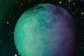 Analysis of data from the Kepler space telescope has shown that roughly half of the dayside of the exoplanet Kepler-7b is covered by a large cloud mass. Statistical comparison of more than 1,000 atmospheric models show that these clouds are most likely made of Enstatite, a common Earth mineral that is in vapor form at the extreme temperature on Kepler-7b. These models varied the altitude, condensa...
