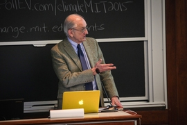 "Professor Emeritus Henry ""Jake"" Jacoby spoke of the dire need for major action to limit climate change."