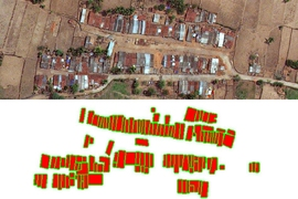 To test their software system for identifying houses in satellite images, the first step was to manually determine the house locations. In this sample satellite image of a rural village in India (top), the team created a map (bottom), where red indicates ''building,'' white indicates ''not building,'' and green indicates ''not sure,'' which includes pixels very close to the...