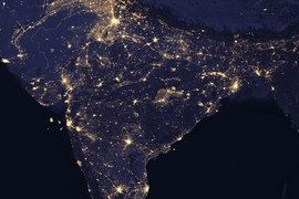 Satellite shot of India at night