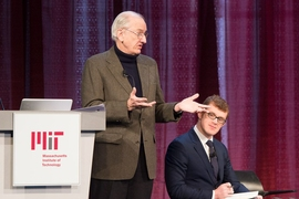 "Henry ""Jake"" Jacoby, a professor emeritus and former co-director of the Joint Center on the Science and Policy of Global Change, summarized the projected effects of global warming on MIT and the Boston area, in a panel discussion led by Francis O'Sullivan (right)."