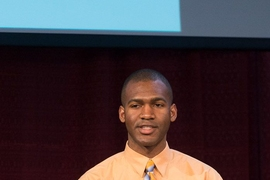 Doctoral student Jeremy Poindexter presented the results of a student study on the potential for generating power from solar panels on the campus rooftops.