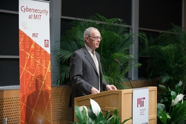 President L. Rafael Reif kicked off the launch with remarks on MIT's roots in cybersecurity.