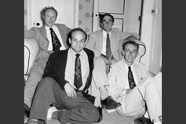 Rich (front row, left) was a member of the RNA Tie Club, which had 20 members, one representing each amino acid. Rich is joined in this 1955 photo by biophysicist James Watson (front row, right), chemist Leslie Orgel (back row, right) and molecular biologist Francis Crick. Watson and Crick together discovered the double helix structure of DNA in 1953.