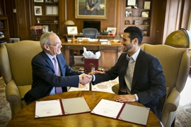 Hassan Jameel, the son of MIT alumnus Mohammed Abdul Latif Jameel '78 (right), and MIT President L. Rafael Reif
