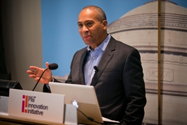 Deval Patrick speaking at an event for the MIT Innovation Initiative