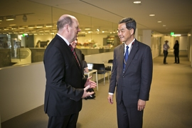MIT Provost Martin A. Schmidt (left) greets Hong Kong Chief Executive Leung Chun-ying