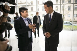 MIT Media Lab director Joi Ito speaks to Leung Chun-yin