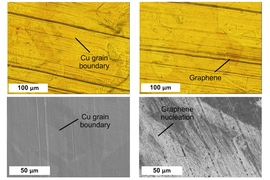 Copper substrate is shown in the process of being coated with graphene. At left, the process begins by treating the copper surface, and, at right, the graphene layer is beginning to form. Upper images are taken using visible light microscopy, and lower images using a scanning electron microscope.