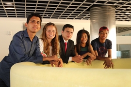 Members of the MathROOTS program at MIT this year (from left): Antonio Monreal, Sofia Dudas, Brent Avery, Kalyn Younger, and Trajan Hammonds.