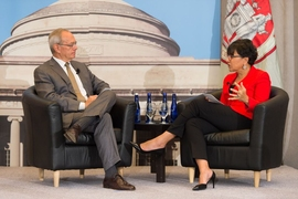 MIT President L. Rafael Reif and Commerce Secretary Penny Pritzker