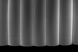 Scanning electron microscope image of a sample from a printed glass prism.