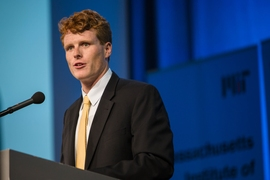 The event was co-hosted by President Reif and Congressman Joe Kennedy III (pictured).