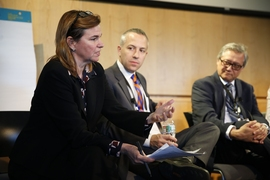 (Left to right) MIT Professor Angela Belcher moderates a panel discussion on climate change, which included Daniel Zarrilli, director of the Mayor's Office of Recovery and Resiliency in New York City, and John Bolduc, an environmental planner for Cambridge.