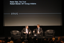 A panel on energy in the developing world featured Ratan Tata, chairman of Tata Trust (left), and Robert Stoner, deputy director for Science and Technology for the MIT Energy Initiative.