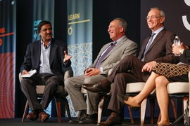 "(Left to right) MIT Professor Anant Agarwal moderated ""Roundtable: The Challenges Facing Education Transformation,"" which included Jeffrey Young, superintendent of Cambridge Public Schools, and MIT President L. Rafael Reif"