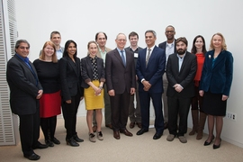 Current and past recipients stand with President L. Rafael Reif and Vanu Bose, son of Amar Bose. (Left to right): Rajeev Ram, Janet Conrad, Jeffrey Grossman, Sangeeta Bhatia, Polina Anikeeva, Nicholas Makris, President Reif, Joel Voldman, Vanu Bose, Jacquin Niles, Joseph Checkelsky, Sara Seager, and Sylvia Ceyer.