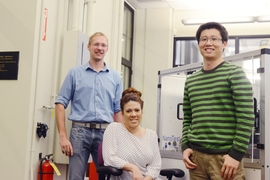 From left, assistant professor Mathias Kolle, professor Christine Ortiz, and postdoc Ling Li, who were leaders of the team that analyzed the eyes of the chiton.
