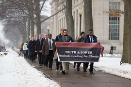 """Truth & Power: Students Leading for Change"" began with a silent march starting at Lobby 7 and ending at Walker Memorial Hall."
