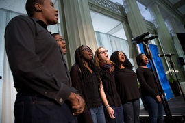 The MIT Gospel Choir sings during luncheon.
