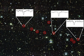 Dark Energy Survey image of the region surrounding the faint dwarf galaxy Reticulum II. The nine brightest known stars in the galaxy are marked with red circles. Spectra showing the unique chemical content of three stars are shown.