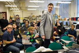 Since 2013, John Hart (standing, center) has been teaching the MIT graduate course 2.S998 (Additive Manufacturing) that explores the fundamentals of 3-D printing.