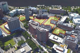 The site of the new buildings, renovated historical structures, and newly created green spaces will span what is now a string of MIT-owned parking lots.
