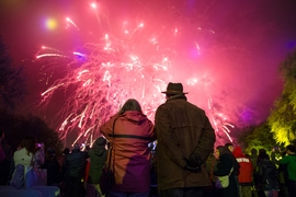 At pageant's end, onlookers were treated to a spectacular fireworks display over the Charles River.