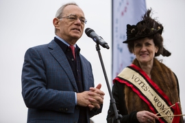 MIT President L. Rafael Reif speaks after the procession and competition.