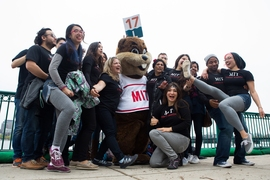 "Students pose with MIT mascot ""Tim the Beaver."""