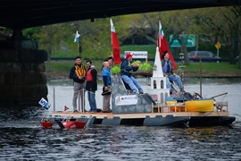 "The Pappalardo Lab's award-winning entry in the ""Crossing the Charles"" competition featured an obstacle course designed for robots, from MIT Course 2.007."