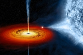 An artist's drawing of a black hole named Cygnus X-1. It formed when a large star caved in. This black hole pulls matter from the blue star beside it.