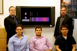 Left to right, front row: Ido Kaminer, Nicholas Rivera, and Bo Zhen. Back row: professors John Joannopoulos and Marin Soljacic
