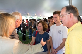 President Reif and his wife, Christine, greet new students and their families after the 2016 Freshman Convocation ceremony.