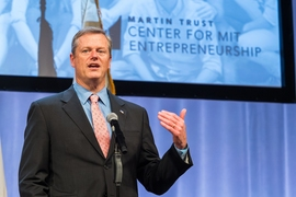 Gov. Charlie Baker spoke at Demo Day.