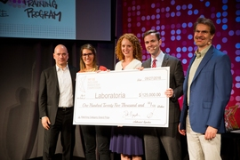 Mariana Costa, second from left, the co-founder and CEO of job-training firm Laboratoria. Based in Peru, the firm was one of four grand-prize champions at the Inclusive Innovation Competition.